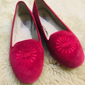 Red suede UGG loafers size 8